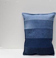 Denim pillow, ombre pillow, jeans, stripes, indigo, blue on Etsy, $32.00