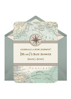 """Ready for a worldly baby shower like our """"Vintage Maps"""" theme? Send custom invites for a very well-traveled celebration.        Send This Invitation: http://www.punchbowl.com/p/vintage-maps"""