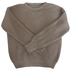 Pre-owned AMERICAN APPAREL Beige Cotton Knitwear ($45) found on Polyvore featuring tops, sweaters, jumpers, shirts, shirts & tops, american apparel sweater, american apparel shirts, brown shirt and cotton shirts