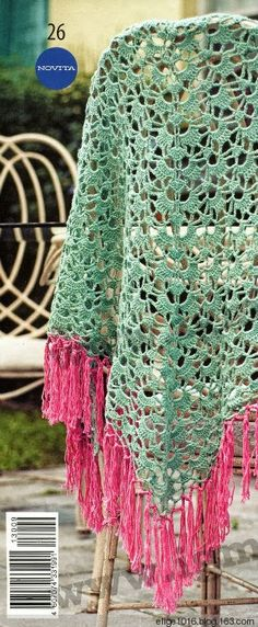 Crochet mint and pink color shawl ❤️LCP-MRS❤️ with diagram.