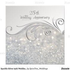 20 great 25th wedding anniversary invitation wording ideas 25 sparkle silver 25th wedding anniversary card solutioingenieria Gallery