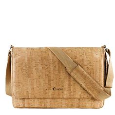 Vegan Messenger Bag for Men in Rustic Cork. Non-Leather Bags. Check out unique bags for vegetarian men's made from non-leather materials.