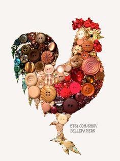 8x10 Kitchen Rooster Kitchen Art Button Art Unique by BellePapiers, $154.00