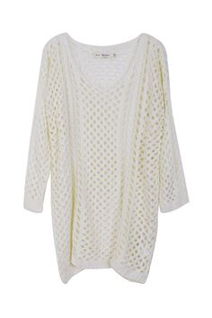 Hollow Knitted Cream-colored Jumper  $51.99  (#romwe  new in and hot sale)