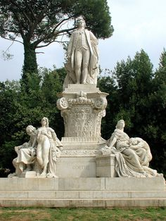 ROME, ITALY l Johann Wolfgang von Goethe, the great German author and statesman, is honored in a massive sculpture, Monumento a Goethe, in the Villa Borghese, Rome. flickr by Alexandre Bessa