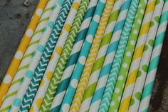 Boy Party Straws -- set of 25 -- Caribbean, aqua, lime green, turquoise, yellow -- Paper Drinking from Spiral Sage Party Themes For Boys, Birthday Party Themes, Green Turquoise, Aqua, Yellow Cottage, More And Less, Yellow Paper, Boy First Birthday, Paper Straws