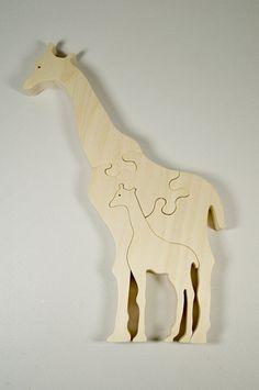 Giraffe Puzzle Wood Baby Giraffe Eco by littlewoodenwonders