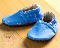 Blue Anchors Away Eco Friendly Baby Booties 6-12 months, by HappySolez