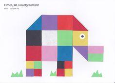 """Elmer"", de kleurtjesolifant - 16 vierkantjes"