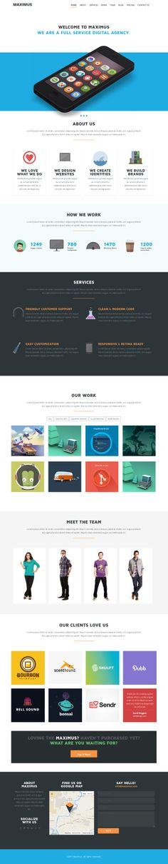 MAXIMUS - Responsive Onepage WordPress Theme #web #design