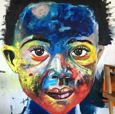 "creative portrait painting: ""black innocence"" by nelson makamo"