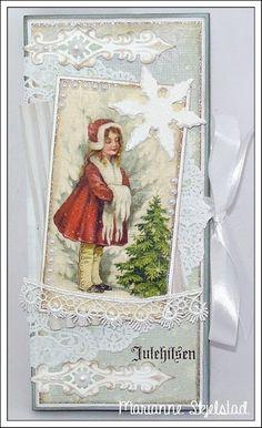 Mariannes papirverden.: Sjokoladekort - Pion Design Christmas Scrapbook, Christmas Tag, Christmas Greeting Cards, Homemade Christmas, Christmas Greetings, All Things Christmas, Christmas Crafts, Shabby Chic Christmas, Vintage Christmas
