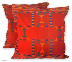 Cotton cushion covers, 'Sequences' (pair) - Cotton Red Cushion Covers Set 2 Throw Pillows