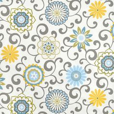 """Blue Yellow Window Curtains, Floral Medallion Curtain Panels, Grey Scroll Drapes, Girl's Bedroom Drapery Panels, Rod-Pocket, One Pair 50""""W"""