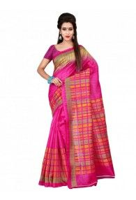 Shonaya Pink Color Bhagalpuri Art Silk Printed Saree With Unstitched Blouse Piece