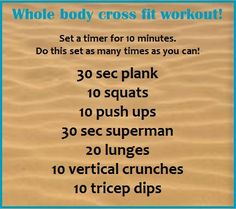 Cross fit workout: 10 minutes, 7 moves, whole body 3 rounds Wods Crossfit, Crossfit At Home, Fun Workouts, At Home Workouts, Fitness Tips, Fitness Motivation, Health And Wellness, Health Fitness, Train Insane Or Remain The Same