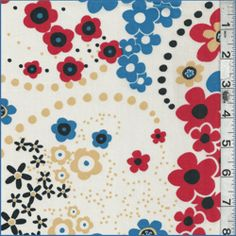 Ivory/Red Floral Lawn - Fabric By The Yard