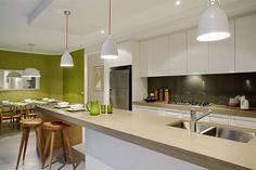 Kitchen with lime trimmings and a lime green feature wall Living Area, Living Room, Kitchen Design, Kitchen Ideas, Household, House Design, Illa, Reno Ideas, Inspiration
