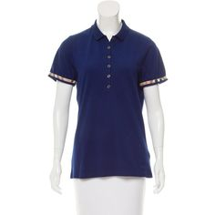 Pre-owned Burberry Brit Nova Check-Trimmed Polo Top ($85) ❤ liked on Polyvore featuring tops, blue, blue short sleeve top, short sleeve tops, short sleeve knit tops, knit top and polo tops