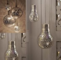 DIY: lace patterned light bulbs - just spray paint a lace doily or piece of fabric onto a lightbulb or even use a silver or black sharpie pen to draw your own design and the then the light will shine through to cast a pretty pattern on your walls. Love this!!!!!!!