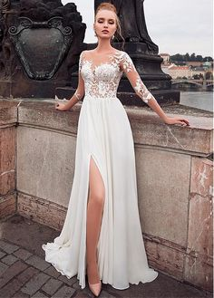 Elegant Tulle & Chiffon Bateau Neckline See-through Bodice A-line Wedding Dress . - Elegant Tulle & Chiffon Bateau Neckline See-through Bodice A-line Wedding Dress With Lace Appliques & Slit Source by - Scottish Wedding Dresses, Wedding Dresses Under 100, Luxury Wedding Dress, Sexy Wedding Dresses, Wedding Dress Sleeves, Perfect Wedding Dress, Cheap Wedding Dress, Princess Wedding Dresses, Bridal Dresses