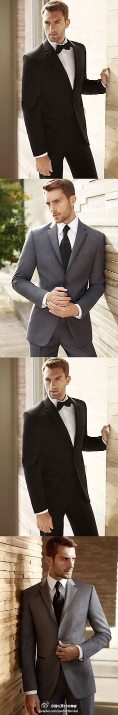 Black by Vera Wang Groom Tuxedo Collection. These are the tuxes we are getting for our wedding!!!! James will be in grey and the guys in the black!