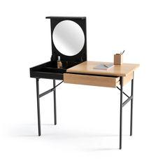 Dream Home Tivara vanity desk, oak / black, La Redoute Interieurs Black Dressing Tables, Dressing Table Modern, Dressing Table Desk, Vanity Desk, Vanity Units, Work Desk, Office Desk, Orange Desks, Mdf Cabinets