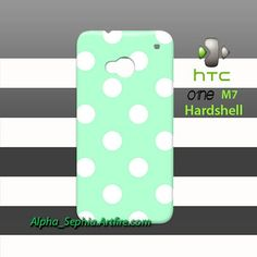 Polka Dots Mint White HTC One M7 Case Cover Hardshell