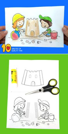 Beach Crafts Diy Crafts For Adults, Easy Arts And Crafts, Spring Crafts For Kids, Craft Activities For Kids, Summer Crafts, Bookmark Craft, Bookmarks Kids, Art Drawings For Kids, Drawing For Kids