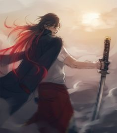 Image discovered by Patricia♡Lockhart . Find images and videos about boy, anime and smile on We Heart It - the app to get lost in what you love. Red Hair Anime Guy, Anime Long Hair, Red Hair Boy, Hot Anime Guys, Cute Anime Boy, Anime Boys, Katana, Dragon Manga, Samurai
