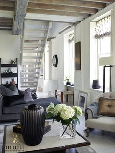 Interior design project : Riverside Apartment in Mortlake, London. Riverside Apartment, Living Area, Living Room, London Property, West London, Casual Elegance, Beams, Tapestry, Indoor