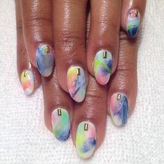 Feathered Springtime Colors #nailart #prestocolorgel #heynicenails #nicenailsfornicepeople #longbeach