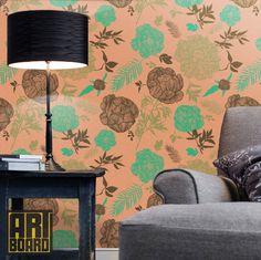 "Peonies retro pattern - self adhesive DIY wallpaper, home decor,  Peel n Stick  20.9""x8' - G033"