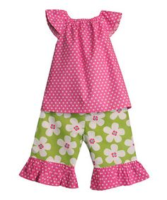 The Smocked Shop Pink Polka Dot Top & Green Daisy Capri Pants - Toddler & Girls by The Smocked Shop #zulilyfinds