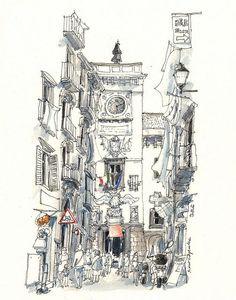 Fine lines/watercolour painting. Architecture quick sketch