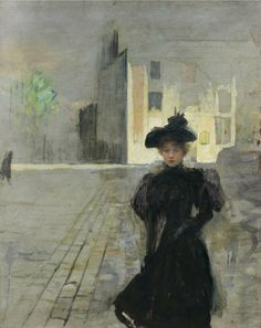 Alone in Paris, 1887, Teodor Axentowicz. Polish (1859 - 1938)  Oil on Canvas -