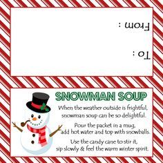 image regarding Free Printable Snowman Soup Labels identified as Snowman Soup - Deal with Bag Topper - Electronic Record - By yourself print