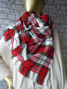 Red White green Scarf Red tartan scarf Plaid by bosphorusscarf