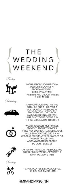 Wedding Weekend Timeline and Welcome Note by PrimroseAndPark - wedding agenda