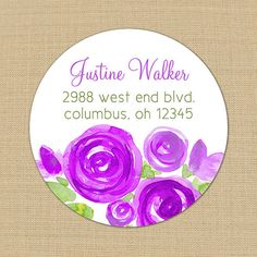 Purple Peonies - Custom Address Labels or Stickers by PoshGirlBoutique