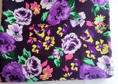 FAT QUARTER - Light weight fine cotton with big flowers in deep purple by chezviessupplies. Explore more products on http://chezviessupplies.etsy.com