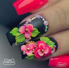 3d Nail Art, 3d Acrylic Nails, Stiletto Nail Art, Pastel Nails, Glam Nails, Bling Nails, Cute Nails, Pretty Nails, Mexican Nails