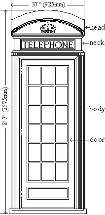 plans for a K2 red English telephone box with dimensions
