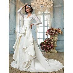 Lan Ting A-line Plus Sizes Wedding Dress - Ivory Chapel Train V-neck Lace/Satin – USD $ 229.99