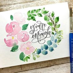 I love this font/lettering Watercolor Journal, Watercolor Lettering, Watercolor Cards, Watercolour Painting, Watercolor Flowers, Painting & Drawing, Watercolors, Brush Lettering Quotes, Bibel Journal