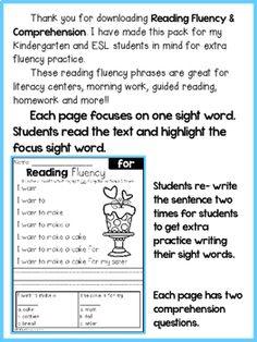 FREE Reading Fluency and Comprehension (Set by Teaching Biilfizzcend Kindergarten Reading, Guided Reading, Free Reading, Reading Comprehension, 1st Grade Worksheets, Reading Worksheets, Handwriting Worksheets, Fluency Practice, English Reading