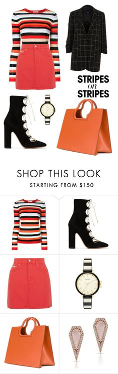 """""""Stripes"""" by caitlinbc ❤ liked on Polyvore featuring Bella Freud, Valentino, AlexaChung, Kate Spade, Danse Lente, Anne Sisteron, River Island, stripesonstripes and PatternChallenge"""