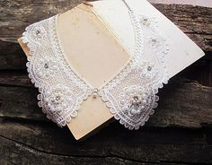 Lace Collar NecklacePearl embroidery Lace by aynurdereli on Etsy, $22.00