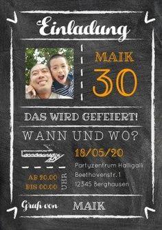 Kreide-Party 30 | Einladung in Kreidelook mit Foto
