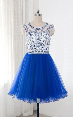 Royal Blue Tulle Sleeveless Homecoming/Prom Dresses With Beading,Short dress